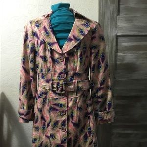 Jackets & Blazers - Retro Peacock Feather Coat W/ Belt